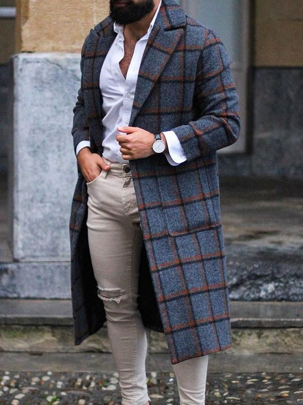 Notched Lapel Long Plaid Winter Slim Coat