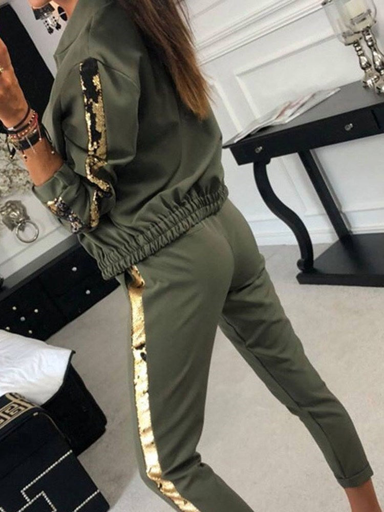 Sequins Coat Plain Pencil Pants Zipper Two Piece Sets