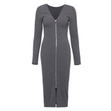 Mid-Calf Long Sleeve Back Zippered Women's Sheath Dress