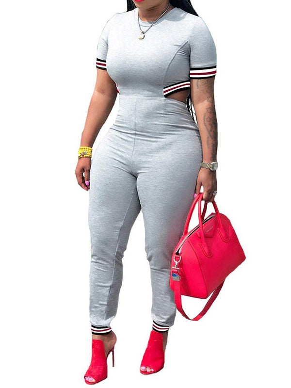 Casual Color Block Full Length High Waist Slim Jumpsuit