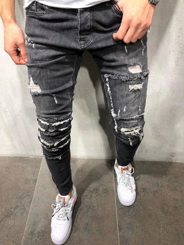 Hole Pencil Pants Zipper Casual Jeans