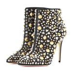 12cm Stiletto Heel Pointed Toe Rivet Women's Ankle Boots