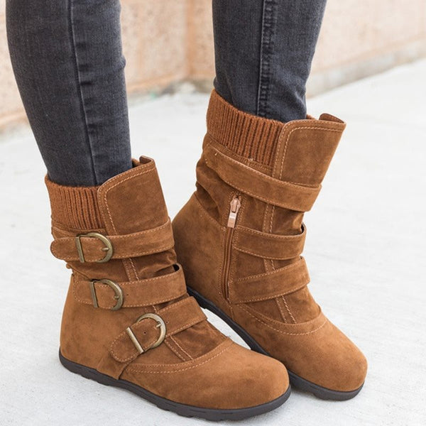 Plain Side Zipper Round Toe Thread Cotton Boots
