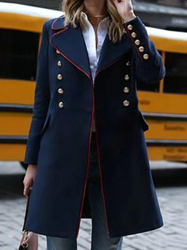Slim Regular Button Notched Lapel Mid-Length Overcoat