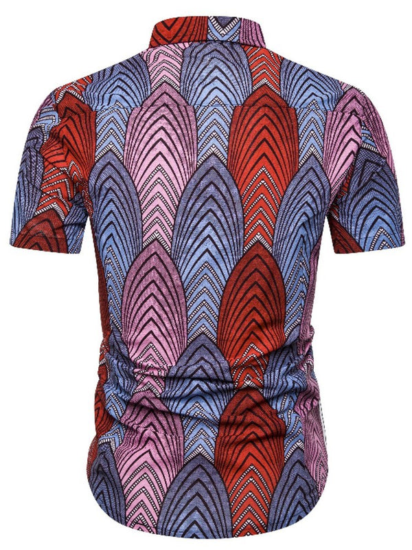 European Color Block Print Slim Single-Breasted Shirt