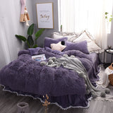 Solid Purple Princess Style 4-Piece Fluffy Bed Skirts Duvet Cover
