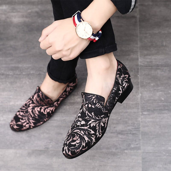 Slip-On Low-Cut Upper Floral Platform Rotondo Toe stampa scarpe sottili in pelle
