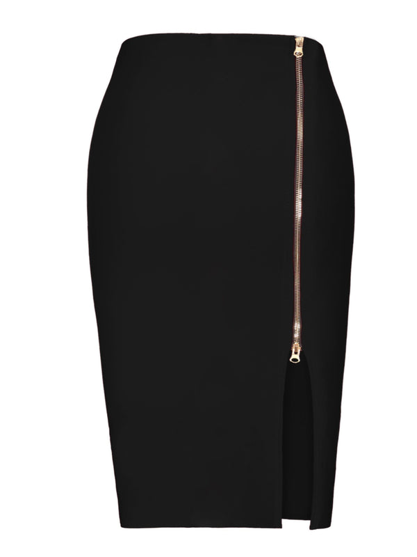 PU Plain Zipper Front Slit High Waist Women's Skirt