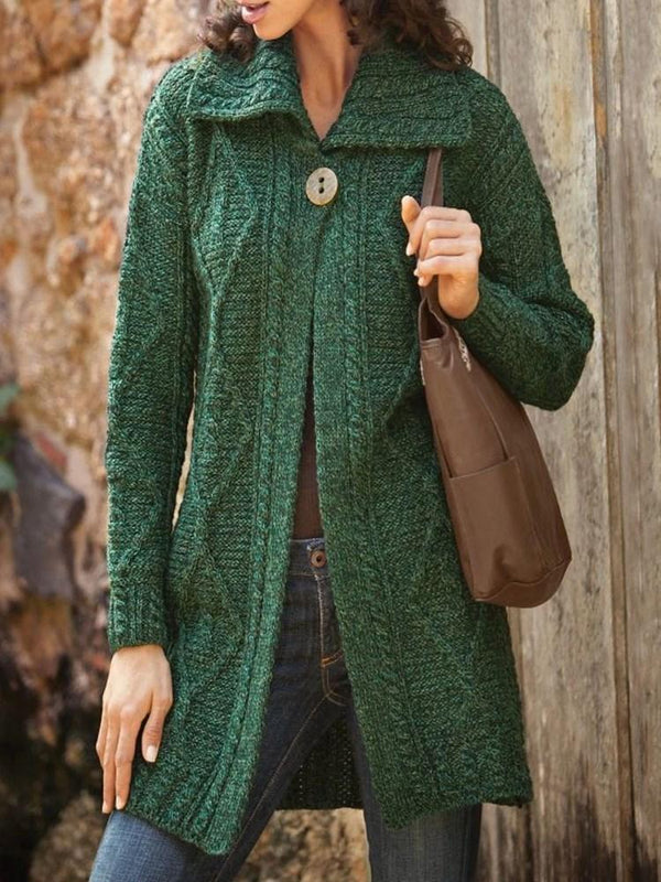 One Button Straight Mid-Length Sweater