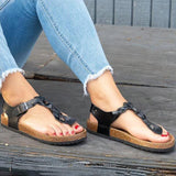 Buckle Thong Flat With Casual Western Sandals