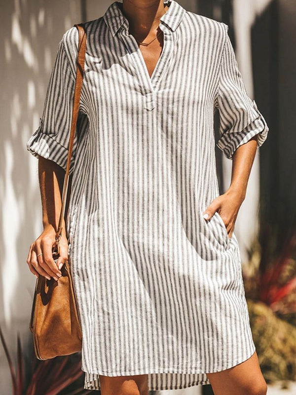 Knee-Length Lapel Asymmetric Regular Stripe Dress