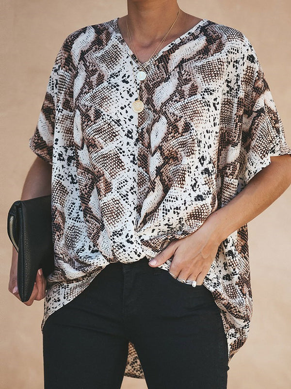 V-Neck Regular Print Short Sleeve Standard Blouse