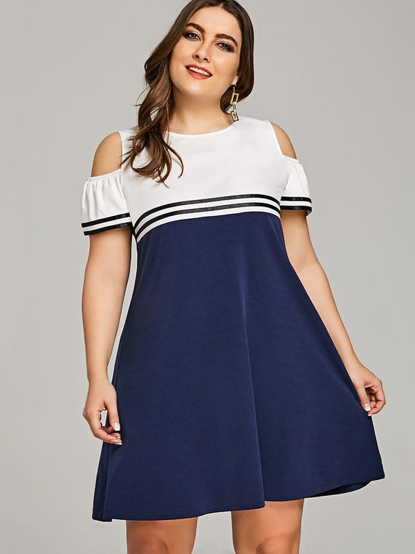 Hollow Round Neck Above Knee Mid Waist Pullover Dress