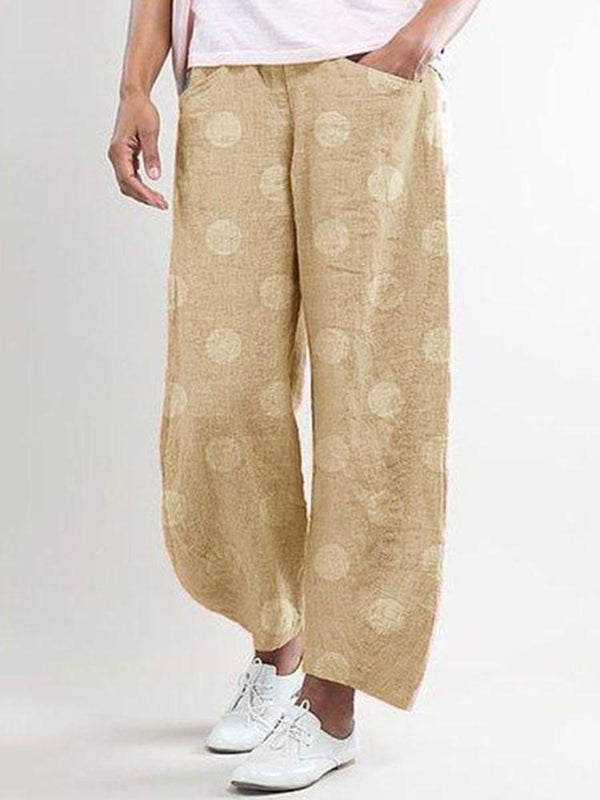Loose Print Polka Dots Straight Ankle Length Casual Pants