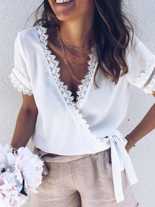 Plain V-Neck Regular Standard Short Sleeve Blouse