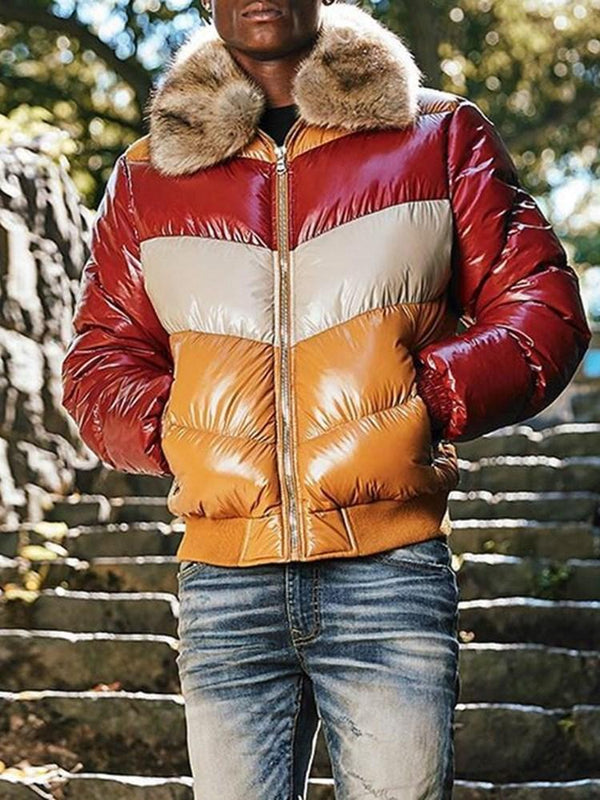 Color Block Standard Pocket Casual Zipper Down Jacket