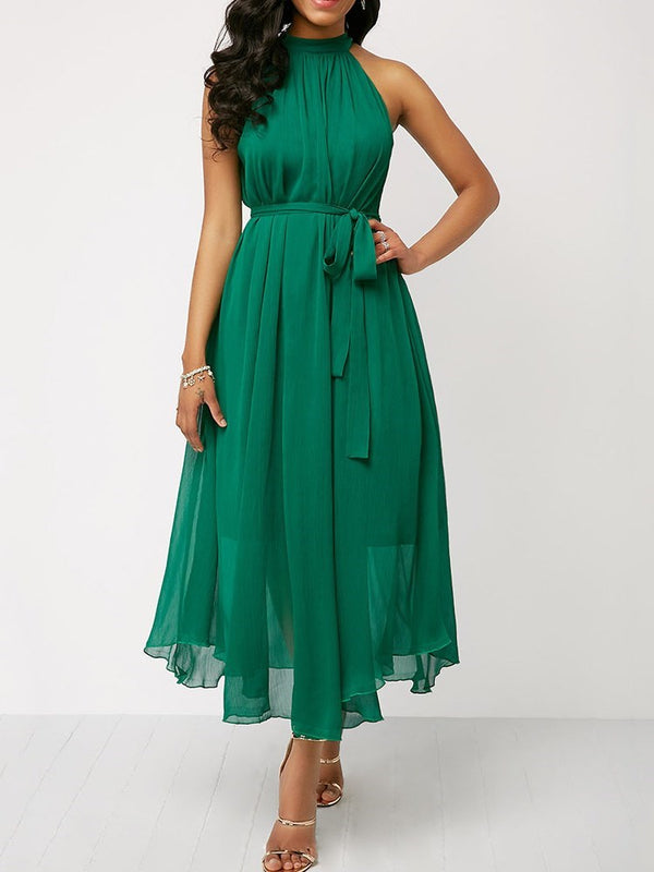 Mid-Calf Round Neck Lace-Up Sweet Plain Dress