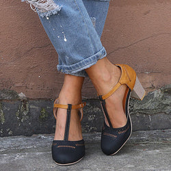 Buckle Chunky Heel Round Toe Western Color Block Sandals