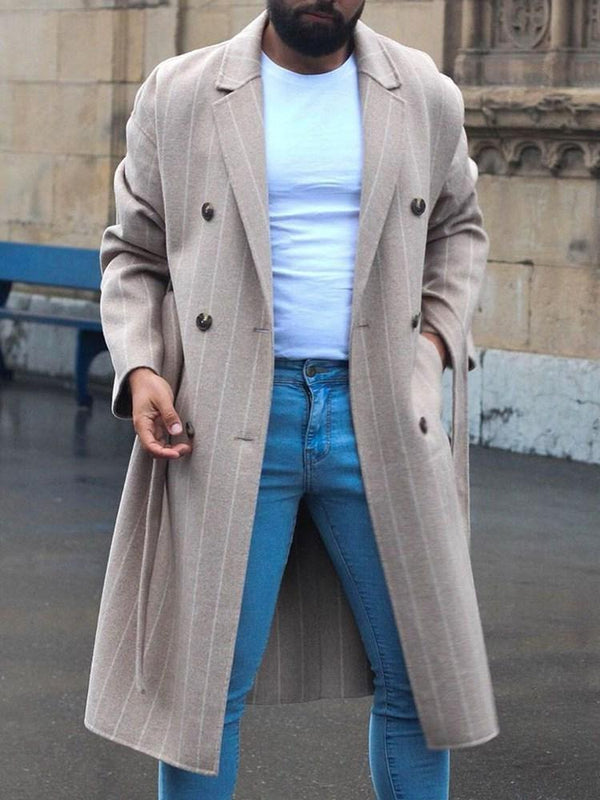 Notched Lapel Stripe Long Double-Breasted Casual Coat