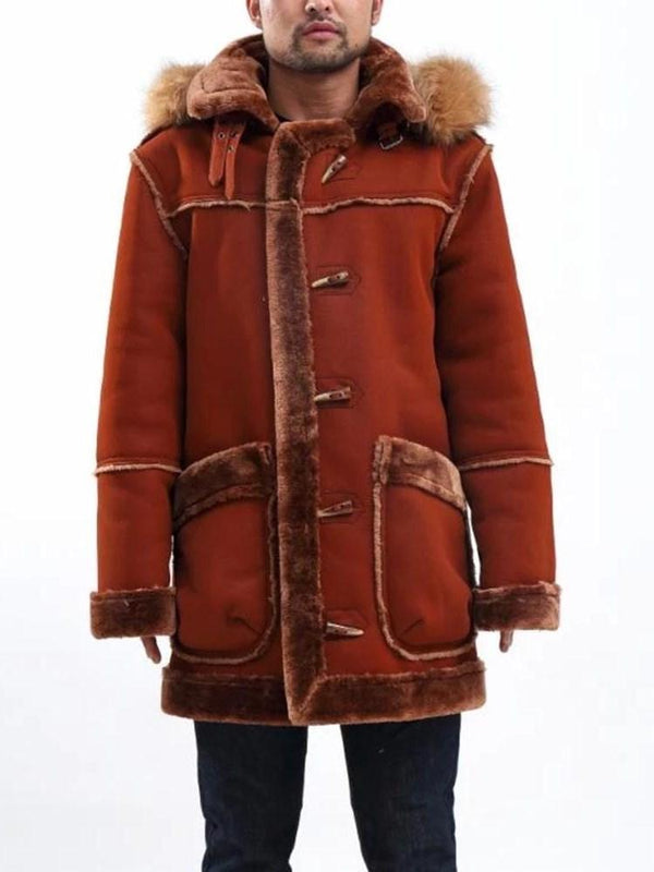 Mid-Length Color Block Pocket Straight Winter Coat