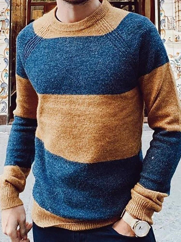 Color Block Standard Slim Casual Sweater