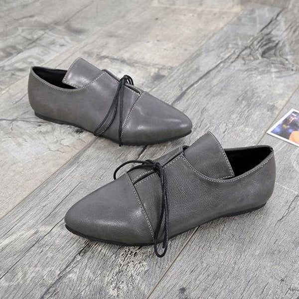 Flat With Pointed Toe Lace-Up Western Low Heel Thin Shoes