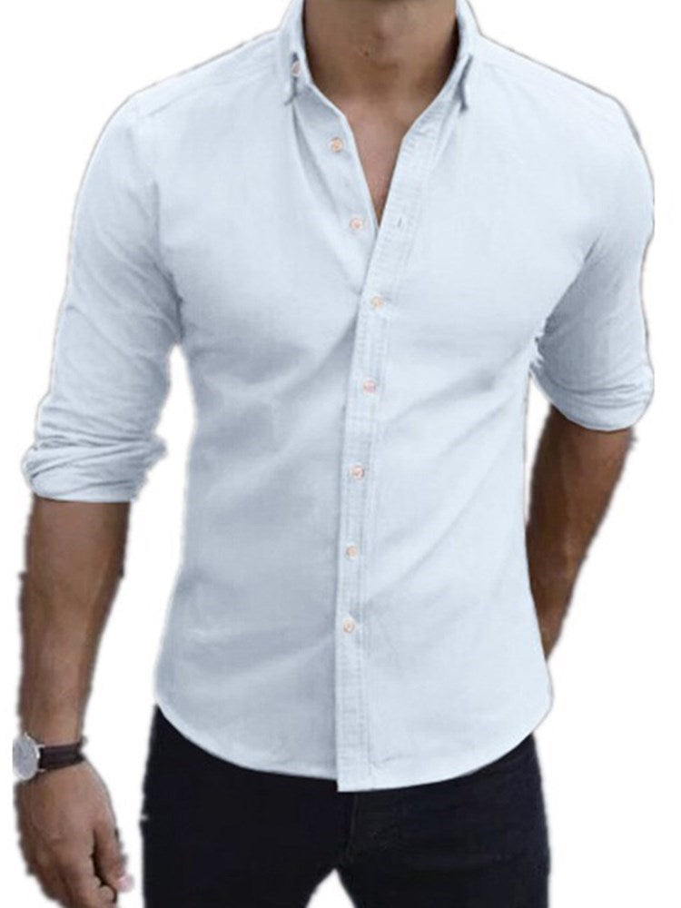 Plain Casual Lapel Slim Summer Shirt