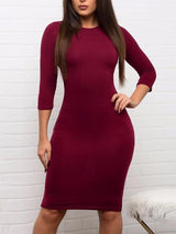 Knee-Length Three-Quarter Sleeve Bodycon Dress
