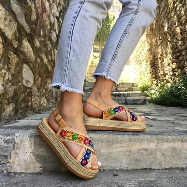 Open Toe Buckle Flat With Ethnic Casual Sandals