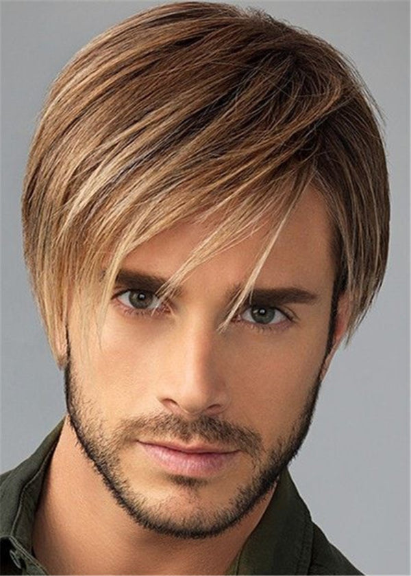 Capless Men Straight Synthetic Hair 120% Wigs