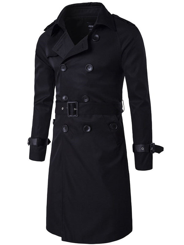 Mid-Length Plain Double-Breasted Single Trench Coat