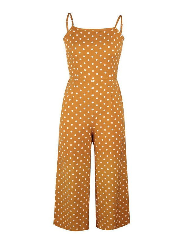Polka Dots Ankle Length Strap Low Waist Wide Legs Jumpsuit