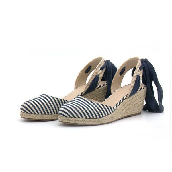 Round Toe Wedge Heel Strappy Lace-Up Cross Strap Stripe Sandals