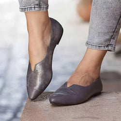Block Heel Pointed Toe Slip-On Casual 1cm Thin Shoes