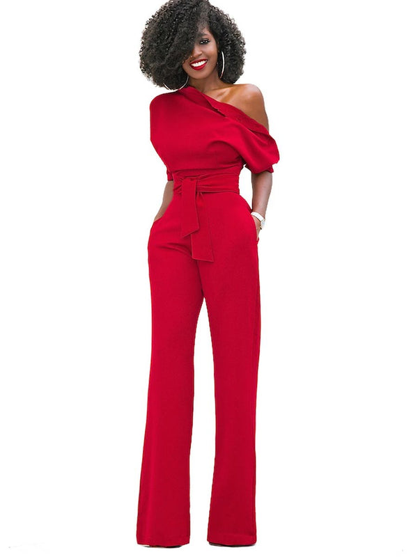 One Shoulder Pleated Loose High-Waist Belt Women's Jumpsuits