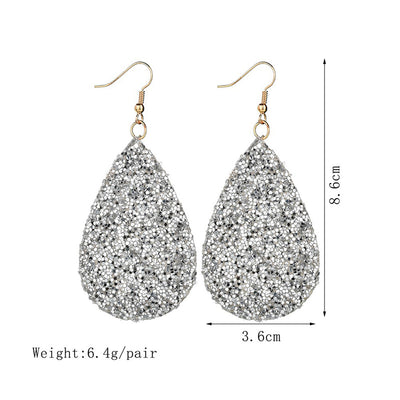 Bling Bling Full Drill Imitation Leather Earrings