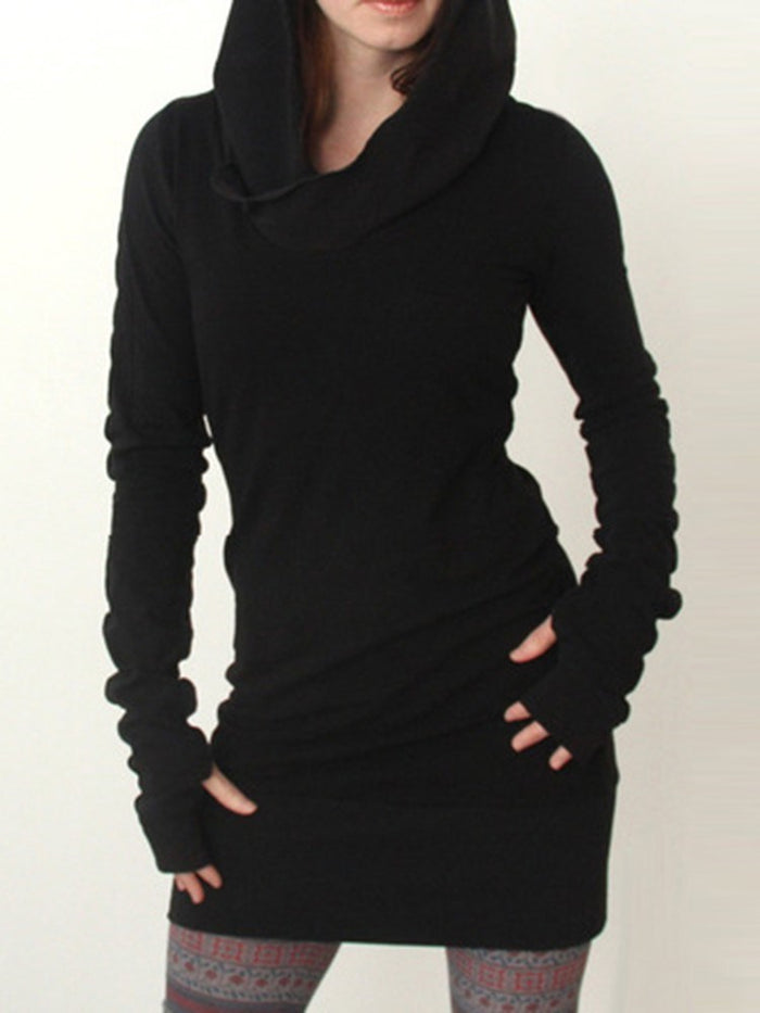 Hooded Long Sleeve Above Knee Casual Plain Dresses