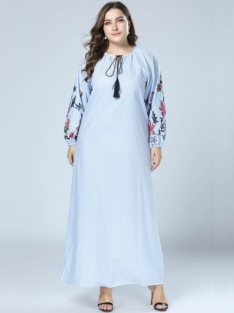 Ankle-Length Long Sleeve Round Neck Pullover Travel Look Dresses