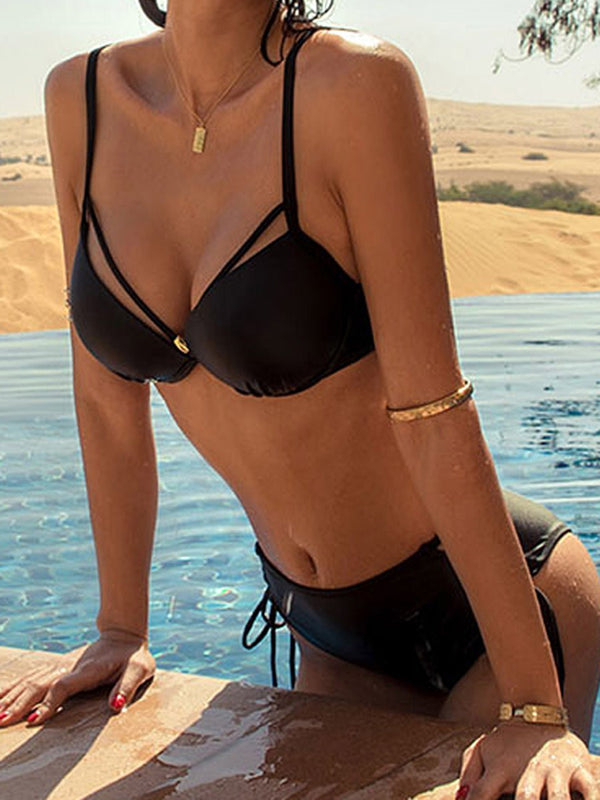 Plain Lace-Up Sexy Swimwear
