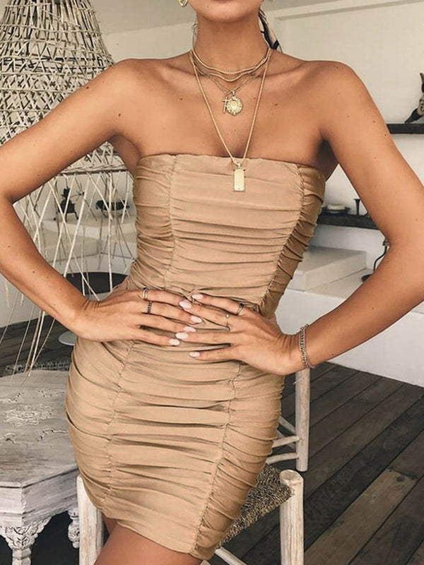 Above Knee Sleeveless Pleated Bodycon Plain Dress