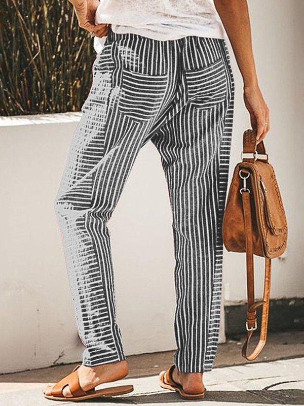 Loose Stripe Full Length Mid Waist Casual Pants