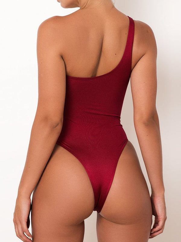 Sexy One Piece Asymmetric Swimwear