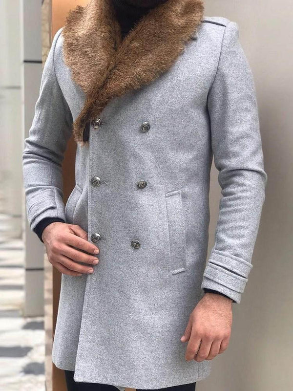 Mid-Length Pocket Color Block Casual Slim Coat