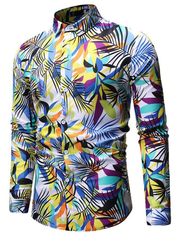 Print Lapel Casual Single-Breasted Slim Shirt