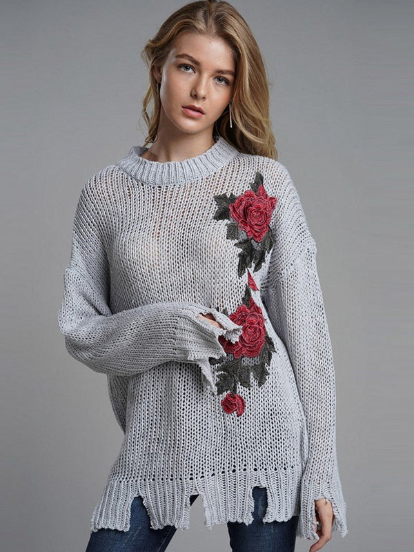 Embroidery Mid-Length Loose Sweater