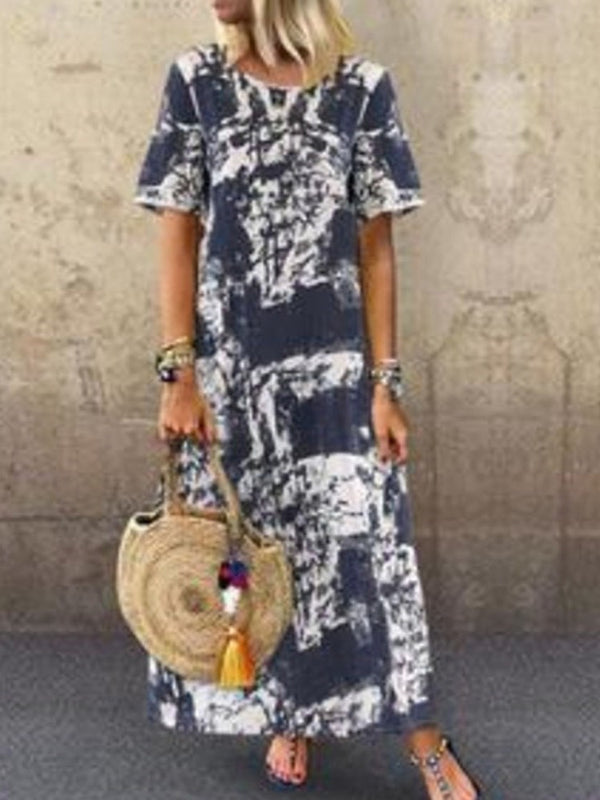 Short Sleeve Print Round Neck Pullover Summer Dress