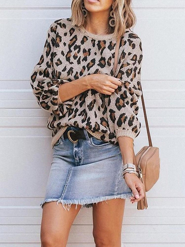Thin Lantern Sleeve Print Loose Long Sleeve Sweater