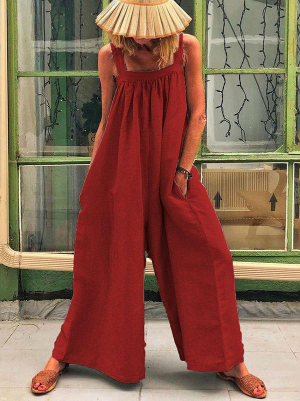 Reise-Look Plissee Plain Loose Wide Legs Jumpsuit