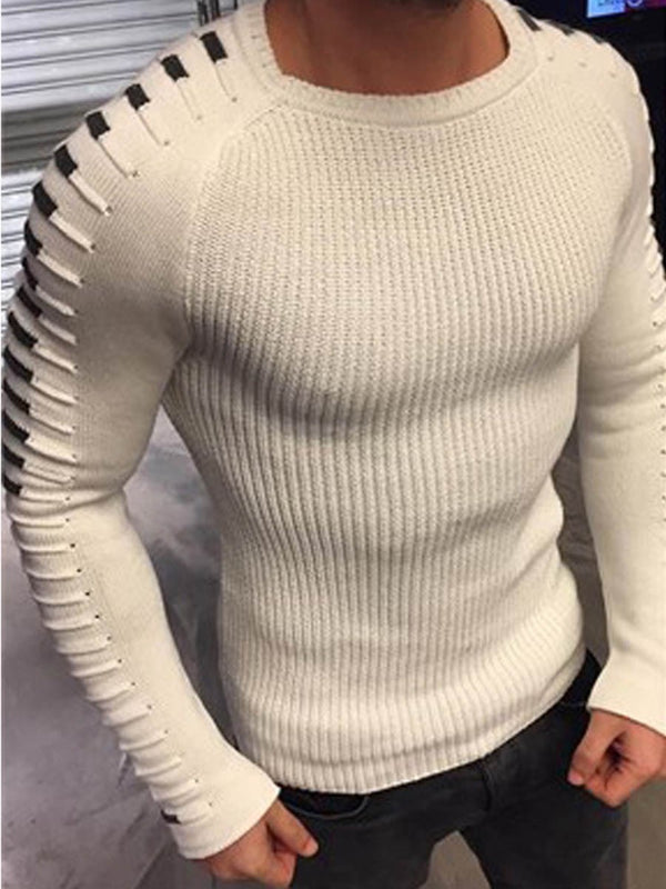 Patchwork Round Neck Standard Slim Casual Sweater