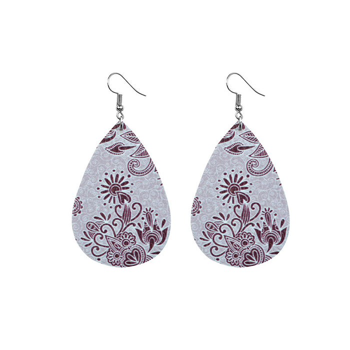 Floral Print Leather Drop Earrings
